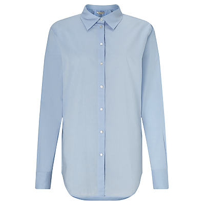Long Line Shirt, Blue - neckline: shirt collar/peter pan/zip with opening; pattern: plain; style: shirt; predominant colour: pale blue; occasions: work; length: standard; fibres: cotton - 100%; fit: straight cut; sleeve length: long sleeve; sleeve style: standard; texture group: cotton feel fabrics; pattern type: fabric; season: a/w 2016; wardrobe: highlight