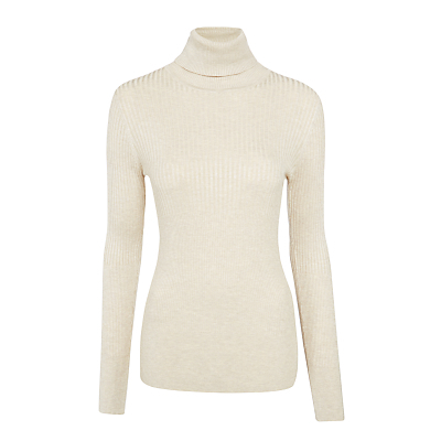 Ribbed Roll Neck Jumper - pattern: plain; neckline: roll neck; style: standard; predominant colour: ivory/cream; occasions: casual, creative work; length: standard; fibres: viscose/rayon - stretch; fit: slim fit; sleeve length: long sleeve; sleeve style: standard; texture group: knits/crochet; pattern type: knitted - fine stitch; pattern size: standard; season: s/s 2016; wardrobe: basic; trends: chunky knits