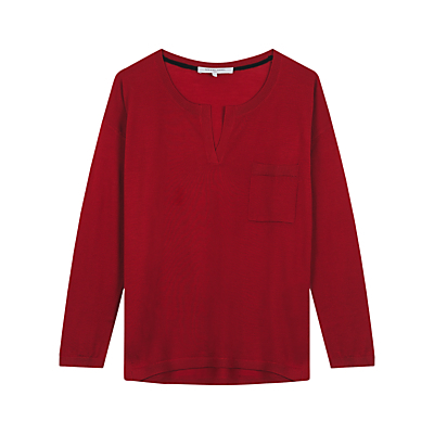 Kensington Jumper - neckline: round neck; pattern: plain; style: standard; predominant colour: true red; occasions: casual, creative work; length: standard; fibres: wool - 100%; fit: standard fit; sleeve length: long sleeve; sleeve style: standard; texture group: knits/crochet; pattern type: knitted - fine stitch; pattern size: standard; season: s/s 2016