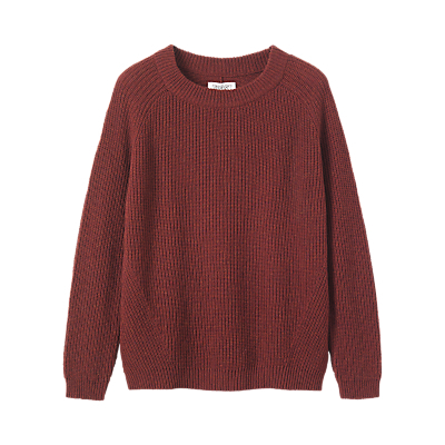 Fisherman Ribbed Jumper - neckline: round neck; pattern: plain; style: standard; predominant colour: burgundy; occasions: casual; length: standard; fibres: wool - 100%; fit: loose; sleeve length: long sleeve; sleeve style: standard; texture group: knits/crochet; pattern type: knitted - fine stitch; pattern size: standard; season: a/w 2016; wardrobe: highlight; trends: chunky knits
