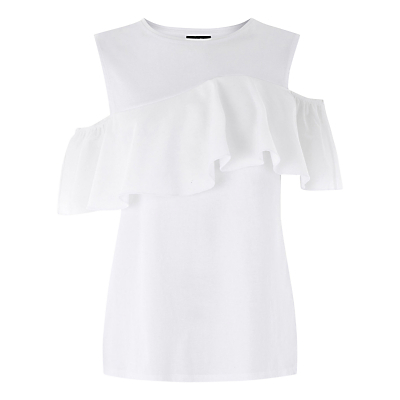 Cotton Off The Shoulder Ruffle Top, White - pattern: plain; predominant colour: white; occasions: casual; length: standard; style: top; fibres: cotton - 100%; fit: body skimming; neckline: crew; shoulder detail: cut out shoulder; sleeve length: short sleeve; sleeve style: standard; texture group: cotton feel fabrics; bust detail: bulky details at bust; pattern type: fabric; season: a/w 2016; wardrobe: highlight