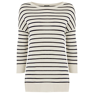 Stripe Integral Rib Top, Blue/White - pattern: horizontal stripes; predominant colour: ivory/cream; secondary colour: black; occasions: casual; length: standard; style: top; fit: body skimming; neckline: crew; sleeve length: long sleeve; sleeve style: standard; texture group: jersey - clingy; pattern type: fabric; fibres: viscose/rayon - mix; multicoloured: multicoloured; wardrobe: basic; season: a/w 2016