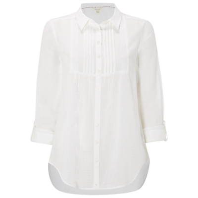 Chantilly Shirt, White - neckline: shirt collar/peter pan/zip with opening; pattern: plain; style: shirt; bust detail: subtle bust detail; predominant colour: white; occasions: casual; length: standard; fibres: cotton - 100%; fit: straight cut; sleeve length: 3/4 length; sleeve style: standard; texture group: cotton feel fabrics; pattern type: fabric; wardrobe: basic; season: a/w 2016