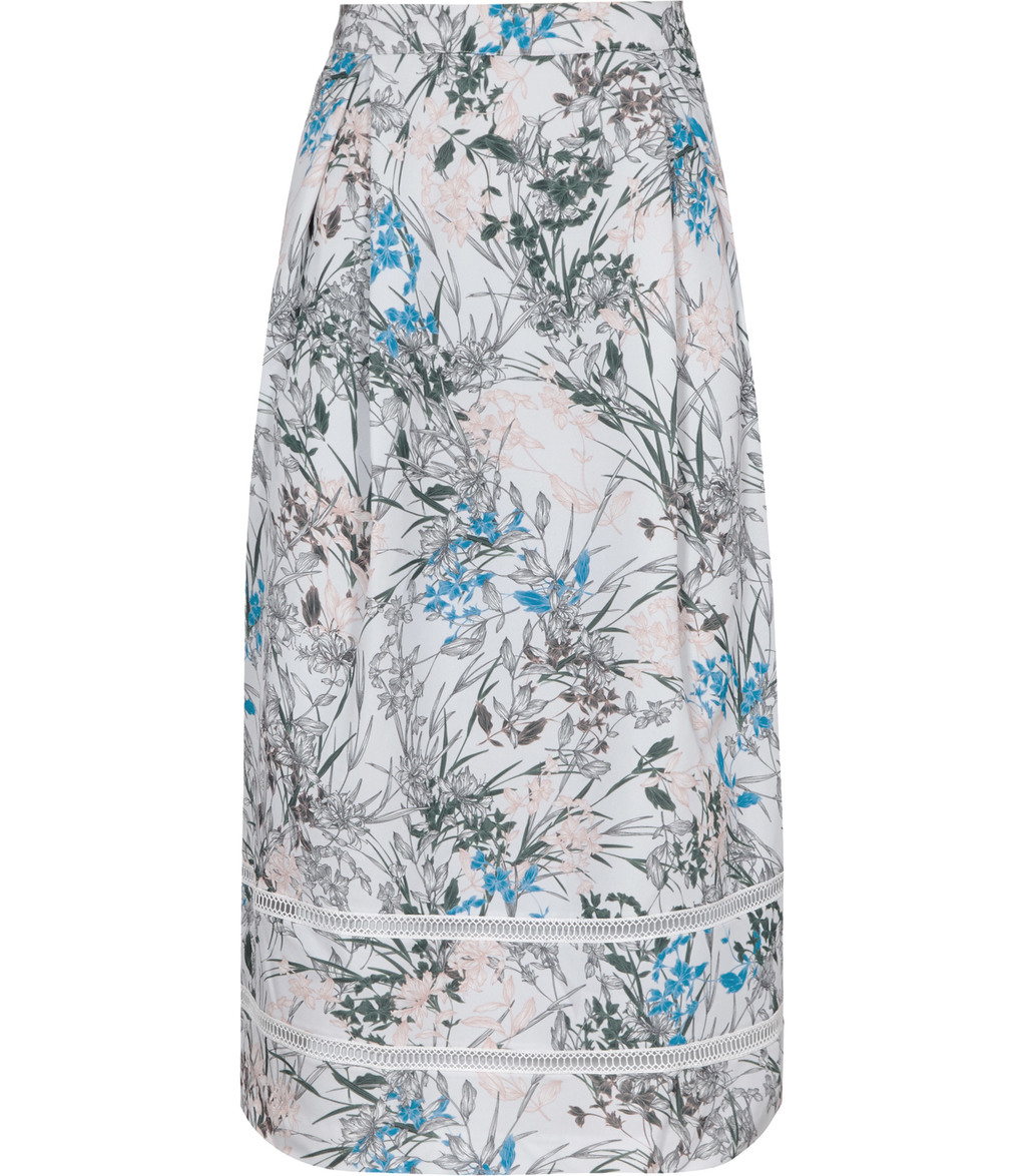 Rennie Womens A Line Midi Skirt In Blue - length: calf length; style: pencil; fit: tailored/fitted; waist: high rise; predominant colour: pale blue; secondary colour: black; fibres: silk - 100%; occasions: occasion, creative work; pattern type: fabric; pattern: patterned/print; texture group: woven light midweight; pattern size: big & busy (bottom); multicoloured: multicoloured; season: a/w 2016; wardrobe: highlight