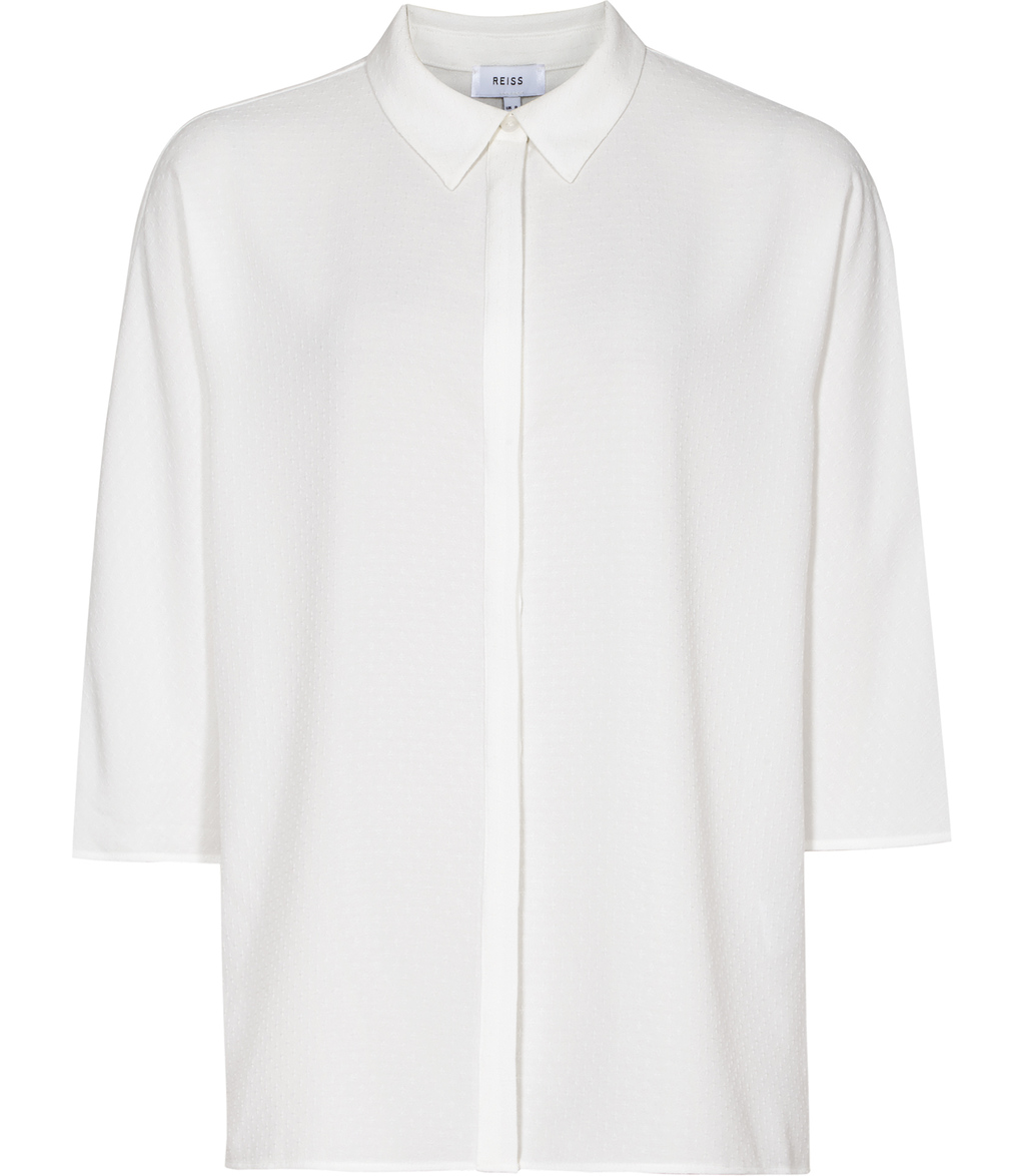 Sophie Womens Wide Sleeve Shirt In White - neckline: shirt collar/peter pan/zip with opening; pattern: plain; style: shirt; predominant colour: white; occasions: work; length: standard; fibres: polyester/polyamide - 100%; fit: body skimming; sleeve length: 3/4 length; sleeve style: standard; texture group: sheer fabrics/chiffon/organza etc.; pattern type: fabric; wardrobe: basic; season: a/w 2016