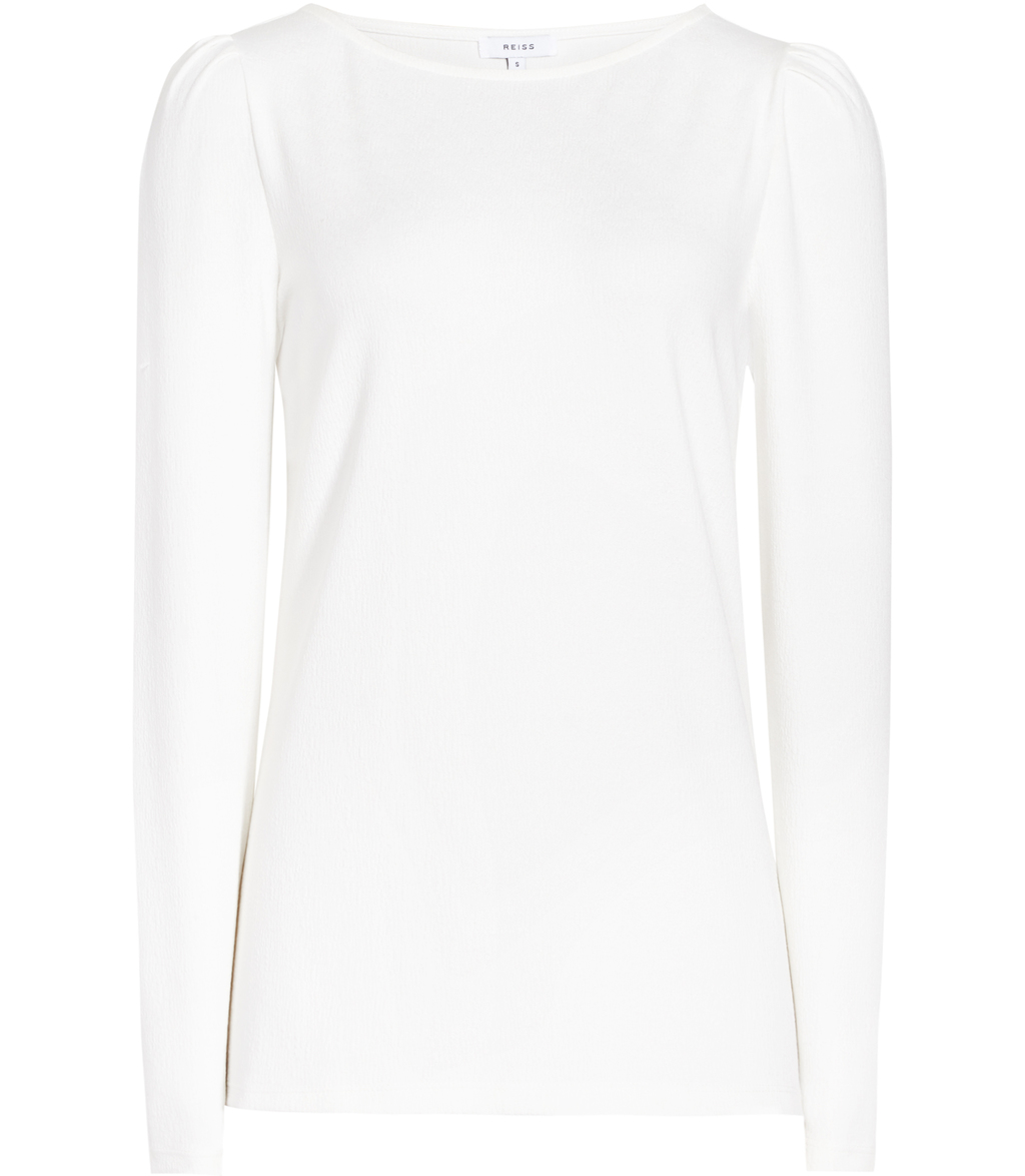 Erol Womens Long Sleeved Jersey Top In White - neckline: slash/boat neckline; pattern: plain; predominant colour: white; occasions: casual; length: standard; style: top; fibres: polyester/polyamide - stretch; fit: body skimming; sleeve length: long sleeve; sleeve style: standard; pattern type: fabric; texture group: jersey - stretchy/drapey; wardrobe: basic; season: a/w 2016