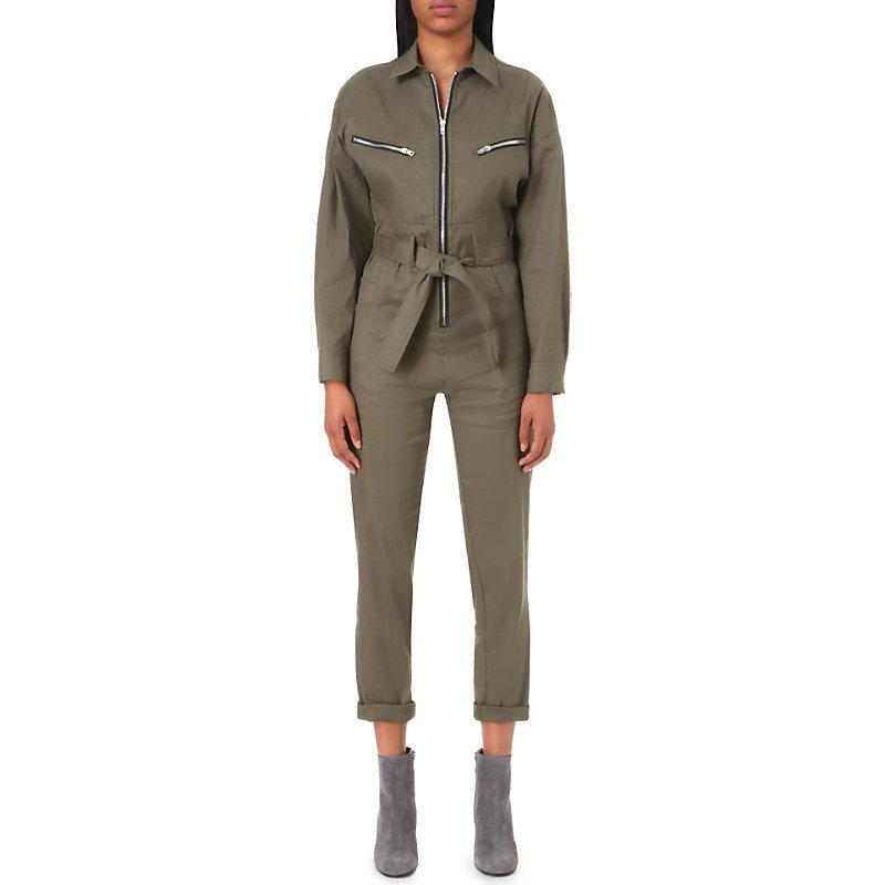 Iggy Linen Blend Jumpsuit, Women's, Green - length: standard; neckline: shirt collar/peter pan/zip with opening; pattern: plain; waist detail: belted waist/tie at waist/drawstring; predominant colour: khaki; occasions: casual; fit: body skimming; fibres: linen - mix; sleeve length: long sleeve; sleeve style: standard; texture group: linen; style: jumpsuit; pattern type: fabric; season: a/w 2016; wardrobe: highlight
