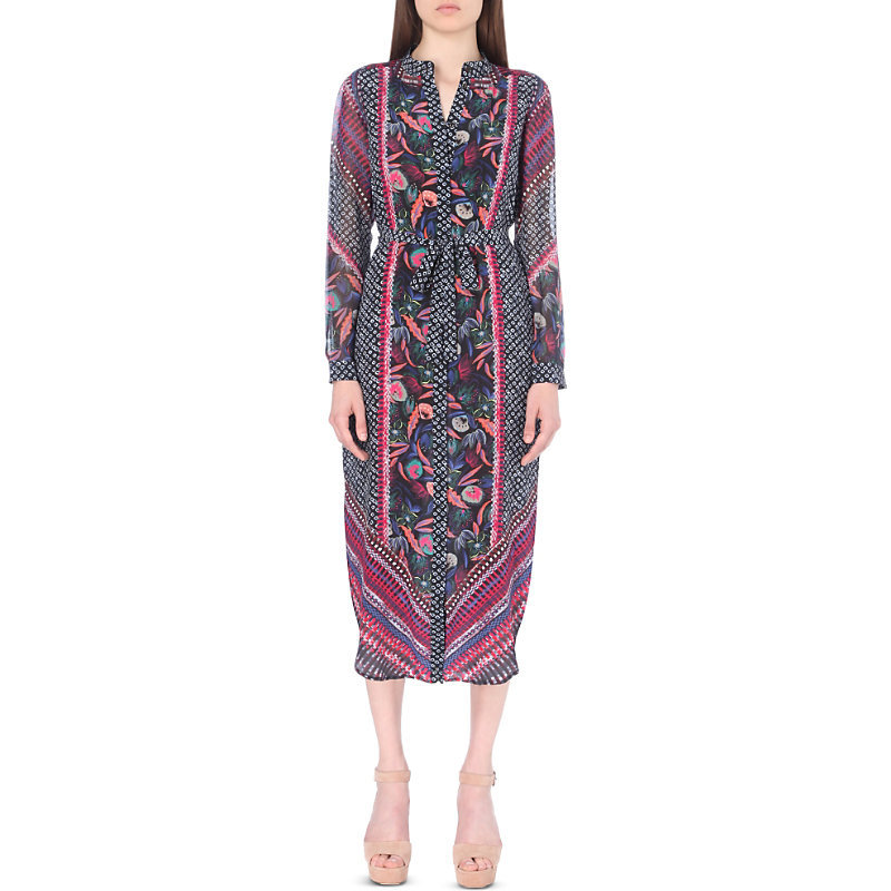 Molly Silk Maxi Dress, Women's, Eden Bandhani - style: shift; length: calf length; waist detail: belted waist/tie at waist/drawstring; secondary colour: hot pink; predominant colour: charcoal; occasions: evening; fit: body skimming; neckline: collarstand & mandarin with v-neck; fibres: silk - 100%; sleeve length: long sleeve; sleeve style: standard; texture group: silky - light; pattern type: fabric; pattern: florals; multicoloured: multicoloured; season: a/w 2016