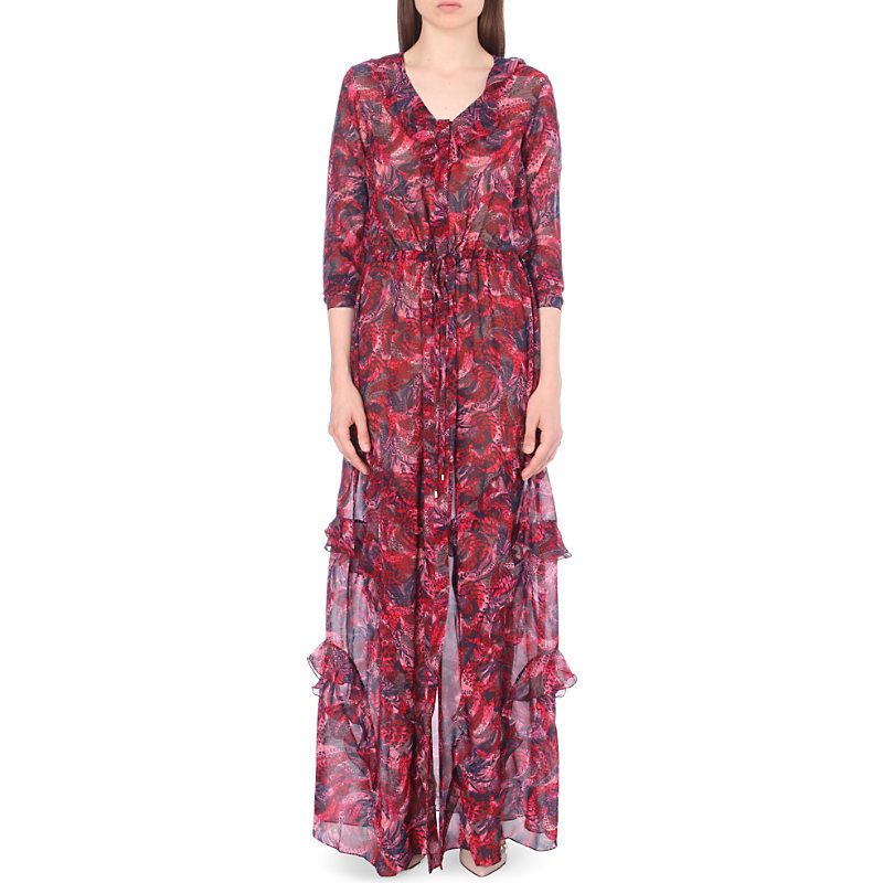 Izzie Silk Maxi Dress, Women's, Crest - neckline: v-neck; style: maxi dress; predominant colour: hot pink; secondary colour: charcoal; occasions: evening; length: floor length; fit: body skimming; fibres: silk - 100%; sleeve length: 3/4 length; sleeve style: standard; texture group: silky - light; pattern type: fabric; pattern: florals; multicoloured: multicoloured; season: a/w 2016; wardrobe: event