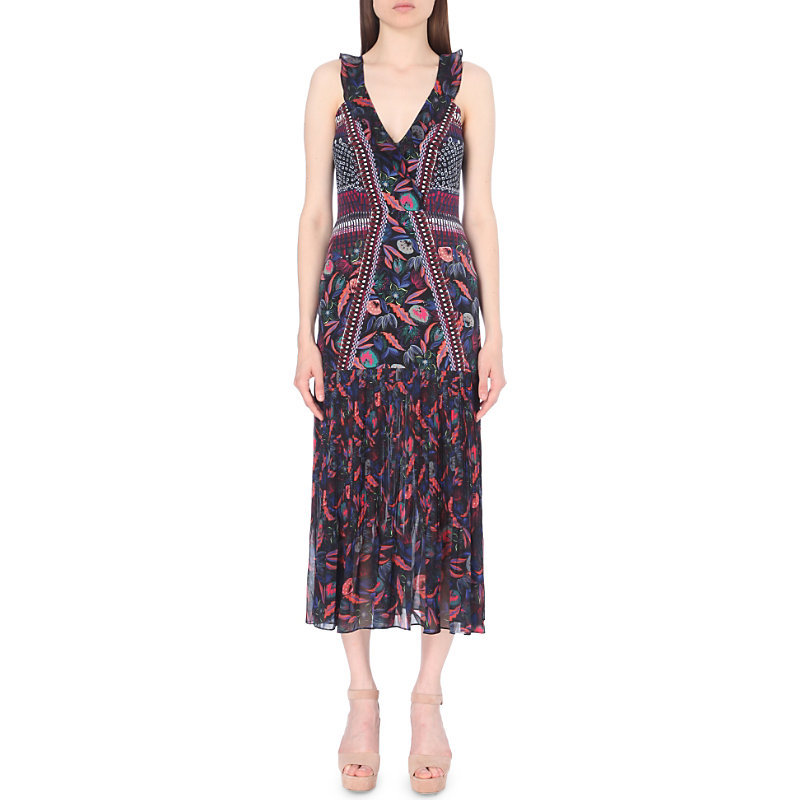Amy Silk Dress, Women's, Garnet Raffia - neckline: v-neck; sleeve style: sleeveless; style: maxi dress; length: ankle length; secondary colour: hot pink; predominant colour: navy; occasions: evening; fit: body skimming; fibres: silk - 100%; sleeve length: sleeveless; texture group: sheer fabrics/chiffon/organza etc.; pattern type: fabric; pattern: florals; multicoloured: multicoloured; season: a/w 2016; wardrobe: event