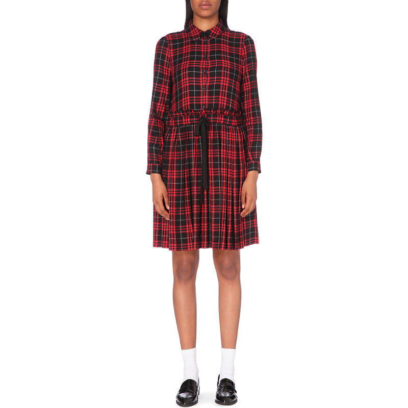 Riviera Woven Dress, Women's, Noir - style: shirt; neckline: shirt collar/peter pan/zip with opening; pattern: checked/gingham; waist detail: belted waist/tie at waist/drawstring; predominant colour: true red; secondary colour: black; occasions: casual; length: just above the knee; fit: body skimming; fibres: polyester/polyamide - 100%; sleeve length: long sleeve; sleeve style: standard; pattern type: fabric; texture group: woven light midweight; multicoloured: multicoloured; season: a/w 2016; wardrobe: highlight