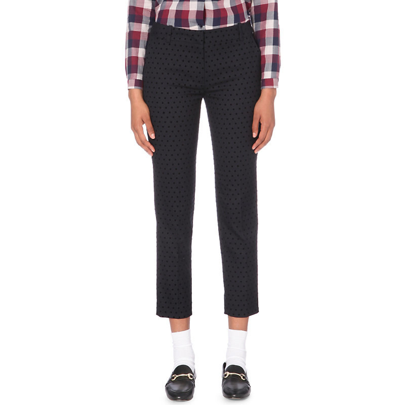 Pixel Slim Mid Rise Woven Trousers, Women's, Dark Blue/Gold - pattern: plain; waist: high rise; predominant colour: navy; occasions: casual, creative work; length: calf length; fibres: polyester/polyamide - mix; fit: slim leg; pattern type: fabric; texture group: woven light midweight; style: standard; season: a/w 2016