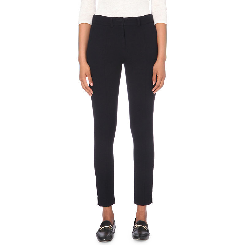 Prairie Slim Mid Rise Stretch Crepe Trousers, Women's, Dark Blue/Gold - pattern: plain; waist: mid/regular rise; predominant colour: navy; occasions: casual, evening; length: ankle length; fibres: polyester/polyamide - stretch; fit: slim leg; pattern type: fabric; texture group: woven light midweight; style: standard; pattern size: standard (bottom); wardrobe: basic; season: a/w 2016