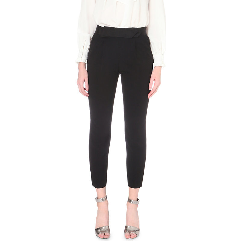 Pop Up Crepe Trousers, Women's, Noir - pattern: plain; waist: high rise; predominant colour: black; occasions: evening, creative work; length: calf length; fibres: polyester/polyamide - 100%; texture group: crepes; fit: slim leg; pattern type: fabric; style: standard; wardrobe: basic; season: a/w 2016