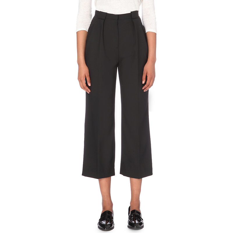 Poppins Wide High Rise Stretch Crepe Trousers, Women's, Noir - pattern: plain; waist: high rise; predominant colour: black; occasions: work, creative work; length: calf length; fibres: polyester/polyamide - mix; texture group: crepes; fit: straight leg; pattern type: fabric; style: standard; wardrobe: basic; season: a/w 2016