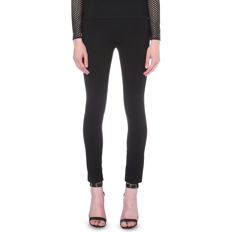 Preta Skinny Mid Rise Trousers, Women's, Black - pattern: plain; style: leggings; waist: mid/regular rise; predominant colour: black; occasions: casual; length: ankle length; fibres: viscose/rayon - stretch; texture group: jersey - clingy; fit: skinny/tight leg; pattern type: fabric; pattern size: standard (bottom); wardrobe: basic; season: a/w 2016