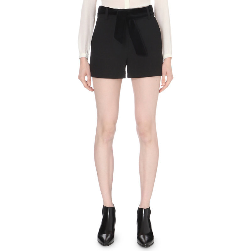 Iparis Crepe Shorts, Women's, Black - pattern: plain; waist: mid/regular rise; predominant colour: black; occasions: casual; fibres: wool - mix; texture group: crepes; pattern type: fabric; wardrobe: basic; style: shorts; length: short shorts; fit: slim leg; season: a/w 2016