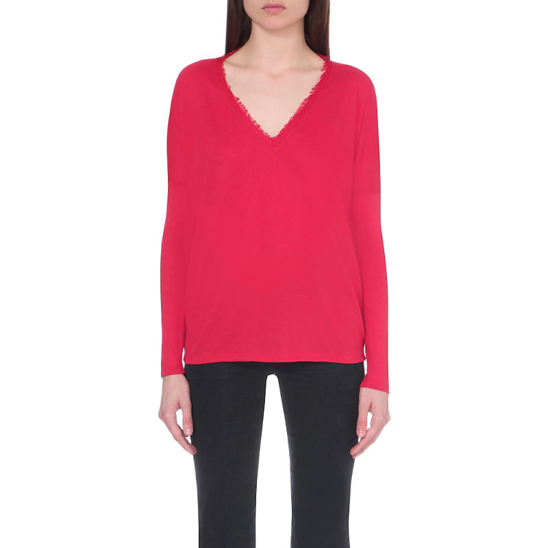 Finnali Jersey Top, Women's, Size: Large, Red - neckline: v-neck; pattern: plain; style: t-shirt; occasions: casual, creative work; length: standard; fibres: cotton - mix; fit: body skimming; sleeve length: long sleeve; sleeve style: standard; texture group: knits/crochet; pattern type: knitted - fine stitch; predominant colour: raspberry; season: a/w 2016; wardrobe: highlight