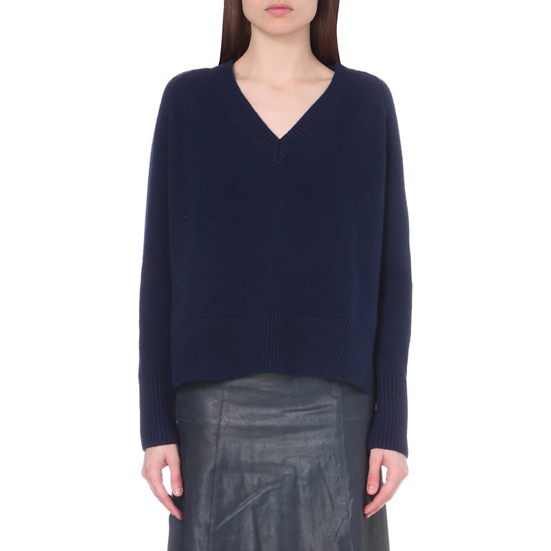 Vb Knt First V Neck Jumper, Women's, Size: Small, Dark Blue/Gold - neckline: v-neck; pattern: plain; style: standard; predominant colour: navy; occasions: casual, work, creative work; length: standard; fibres: wool - mix; fit: loose; sleeve length: long sleeve; sleeve style: standard; texture group: knits/crochet; pattern type: knitted - fine stitch; wardrobe: basic; season: a/w 2016