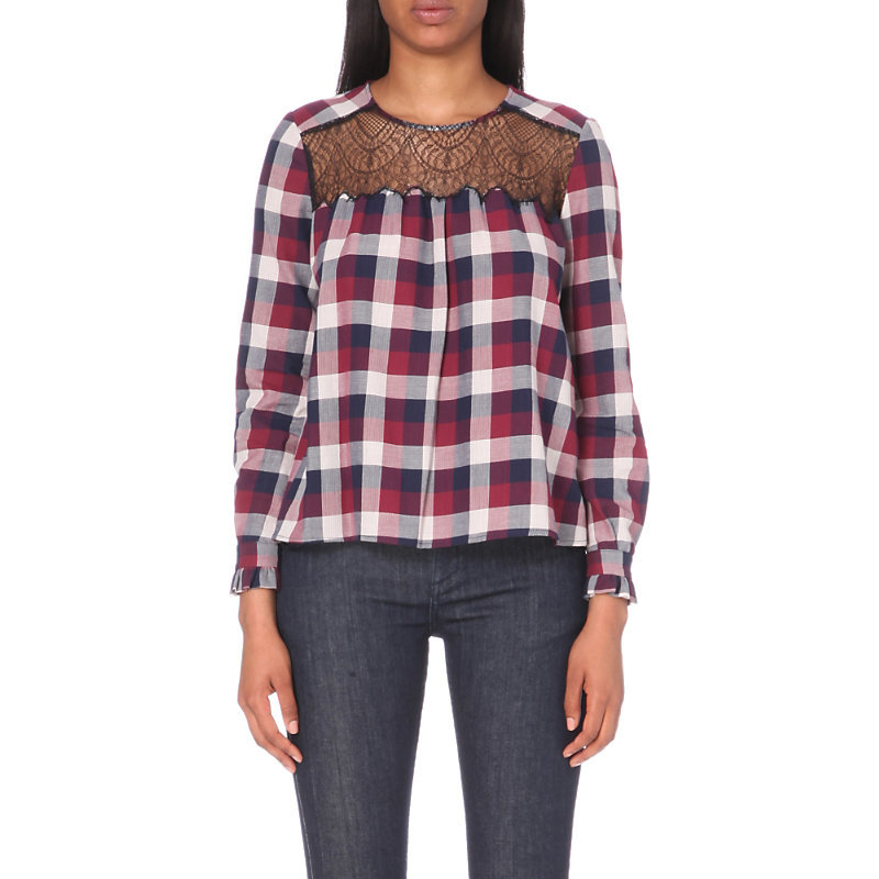 Best Cotton Shirt, Women's, Red - pattern: checked/gingham; style: blouse; secondary colour: burgundy; predominant colour: navy; occasions: casual, creative work; length: standard; fibres: cotton - 100%; fit: loose; neckline: crew; sleeve length: long sleeve; sleeve style: standard; texture group: cotton feel fabrics; pattern type: fabric; pattern size: standard; embellishment: lace; shoulder detail: sheer at shoulder; multicoloured: multicoloured; season: a/w 2016