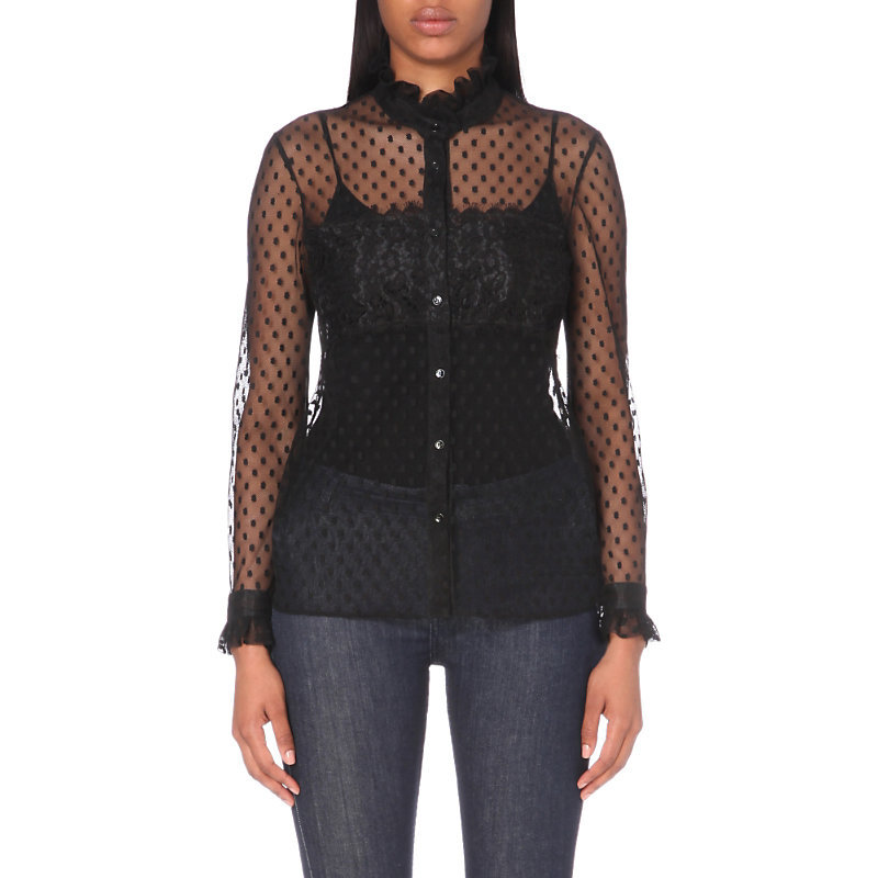 Cassandre Tulle Shirt, Women's, Noir - style: shirt; pattern: polka dot; predominant colour: black; occasions: evening, creative work; length: standard; neckline: collarstand; fibres: polyester/polyamide - 100%; fit: straight cut; sleeve length: long sleeve; sleeve style: standard; texture group: sheer fabrics/chiffon/organza etc.; pattern type: fabric; pattern size: standard; season: a/w 2016; wardrobe: highlight