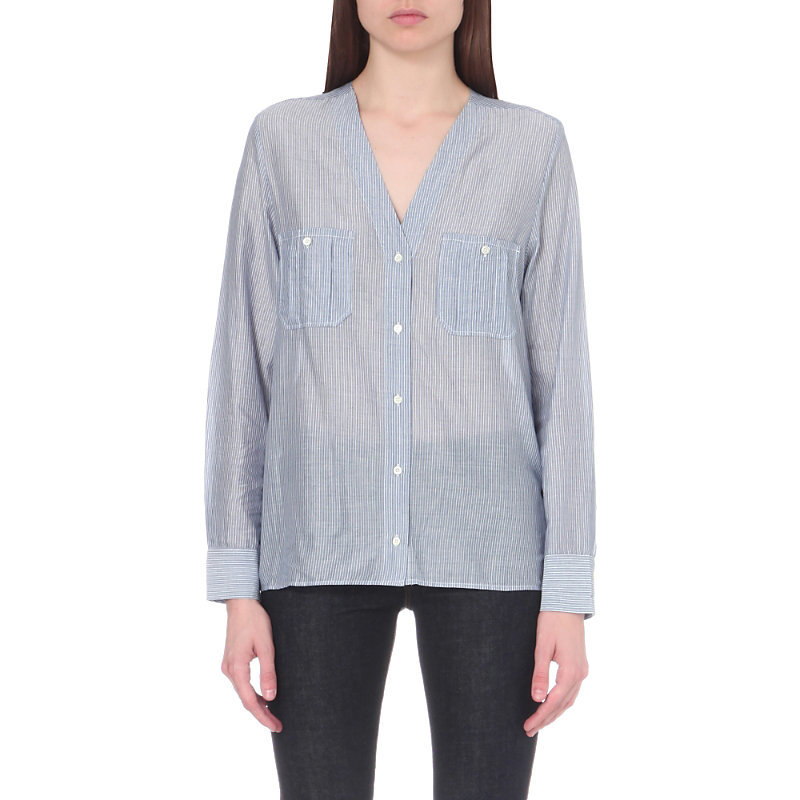 Favio Striped Cotton Blend Shirt, Women's, Bleu/White - neckline: v-neck; pattern: pinstripe; style: blouse; secondary colour: white; predominant colour: denim; occasions: casual, creative work; length: standard; fibres: cotton - mix; fit: straight cut; sleeve length: long sleeve; sleeve style: standard; texture group: cotton feel fabrics; bust detail: bulky details at bust; pattern type: fabric; pattern size: standard; season: a/w 2016; wardrobe: highlight