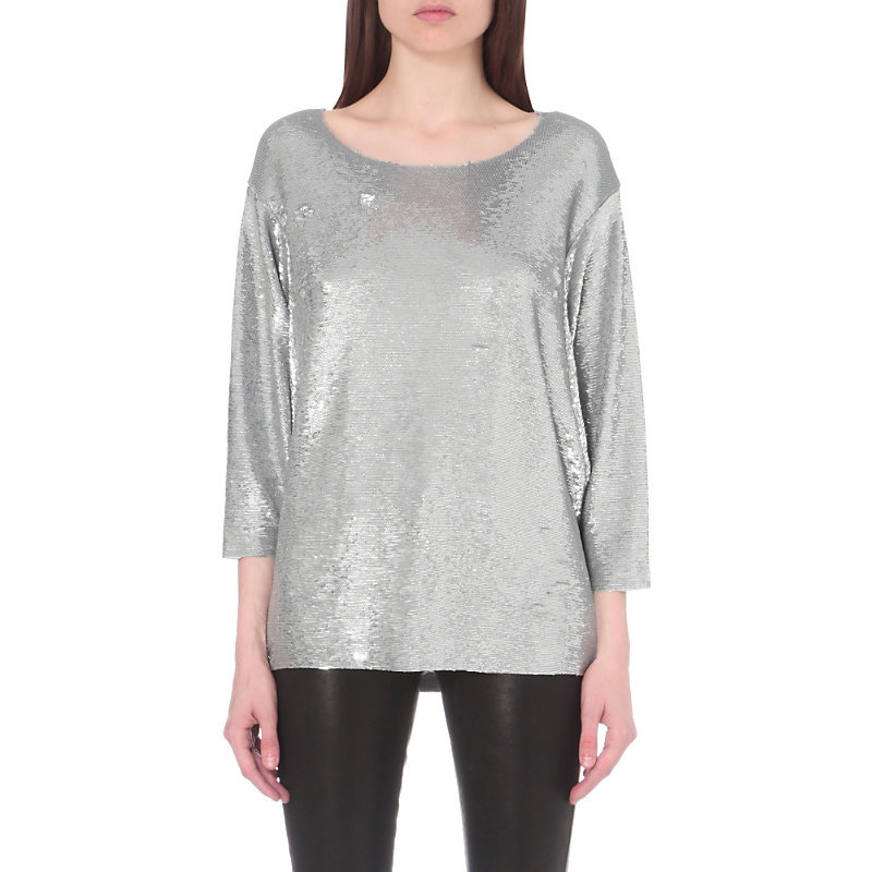 Alya Sequinned Top, Women's, Sliver - neckline: round neck; sleeve style: dolman/batwing; pattern: plain; style: t-shirt; predominant colour: silver; occasions: evening; length: standard; fibres: polyester/polyamide - 100%; fit: loose; sleeve length: 3/4 length; pattern type: fabric; texture group: jersey - stretchy/drapey; embellishment: sequins; season: a/w 2016