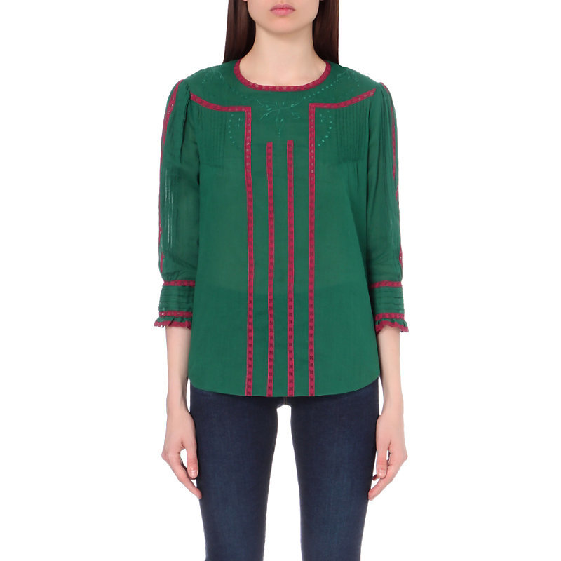 Elati Embroidered Linen And Cotton Blend Blouse, Women's, Sapin - style: blouse; secondary colour: hot pink; predominant colour: emerald green; occasions: casual, creative work; length: standard; fibres: cotton - 100%; fit: straight cut; neckline: crew; sleeve length: 3/4 length; sleeve style: standard; texture group: cotton feel fabrics; pattern type: fabric; pattern size: standard; pattern: colourblock; season: a/w 2016