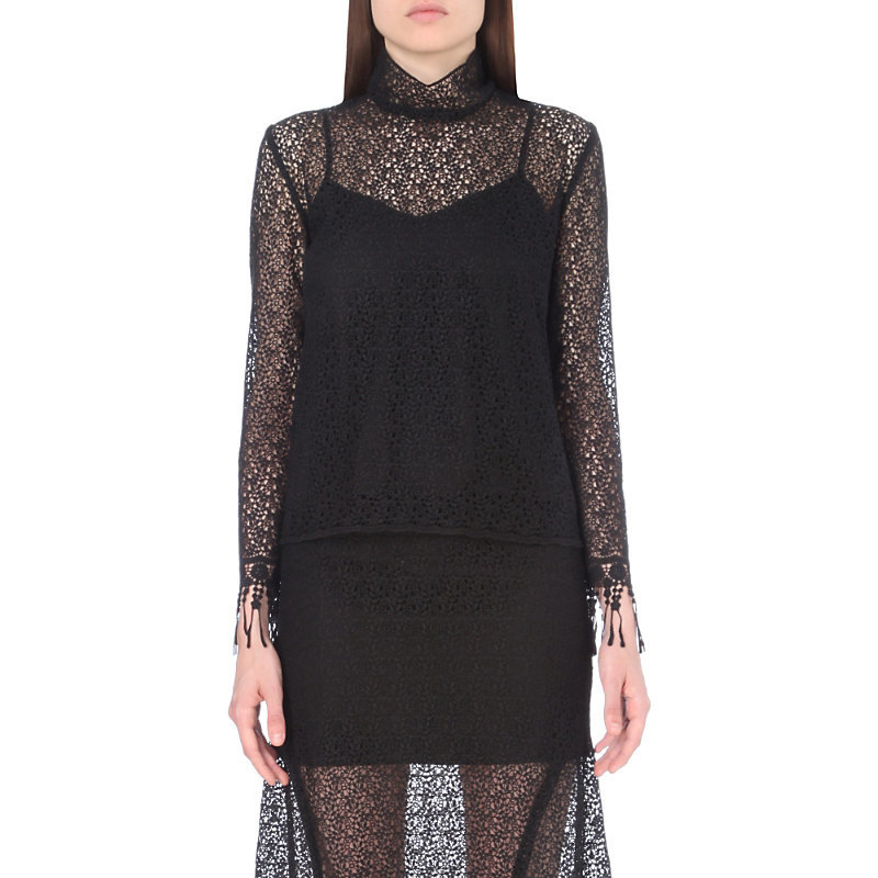Mia Lace Top, Women's, Black - neckline: high neck; style: blouse; predominant colour: black; occasions: evening, creative work; length: standard; fibres: silk - 100%; fit: straight cut; sleeve length: long sleeve; sleeve style: standard; texture group: lace; pattern type: fabric; pattern size: standard; pattern: patterned/print; season: a/w 2016; wardrobe: highlight