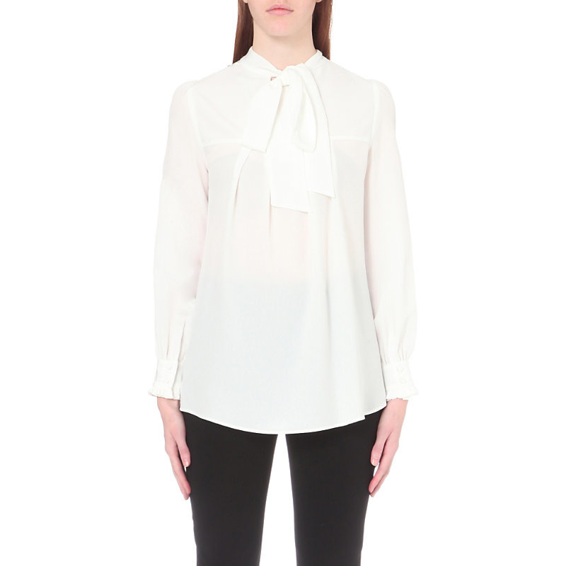 Barneto Crepe Top, Women's, White - pattern: plain; neckline: pussy bow; style: blouse; bust detail: subtle bust detail; predominant colour: ivory/cream; occasions: work; length: standard; fibres: polyester/polyamide - 100%; fit: straight cut; sleeve length: long sleeve; sleeve style: standard; texture group: crepes; pattern type: fabric; season: a/w 2016; wardrobe: highlight