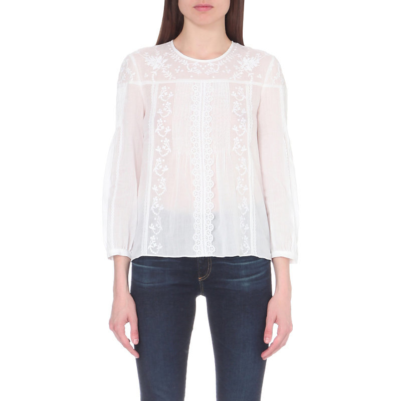 Fantassin Embroidered Linen And Cotton Blend Blouse, Women's, White - pattern: plain; style: blouse; predominant colour: white; occasions: casual; length: standard; fibres: linen - mix; fit: body skimming; neckline: crew; sleeve length: 3/4 length; sleeve style: standard; pattern type: fabric; texture group: other - light to midweight; embellishment: embroidered; season: a/w 2016; wardrobe: highlight