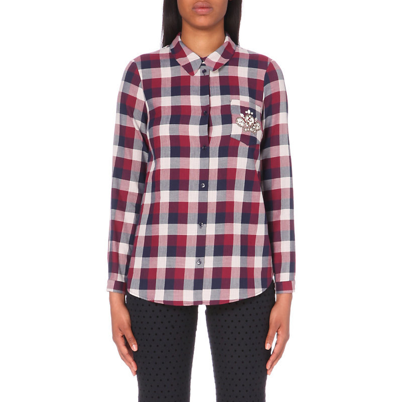 Charlot Cotton Shirt, Women's, Red - neckline: shirt collar/peter pan/zip with opening; pattern: checked/gingham; style: shirt; secondary colour: white; predominant colour: true red; occasions: casual; length: standard; fibres: cotton - 100%; fit: body skimming; sleeve length: long sleeve; sleeve style: standard; texture group: cotton feel fabrics; pattern type: fabric; multicoloured: multicoloured; season: a/w 2016; wardrobe: highlight