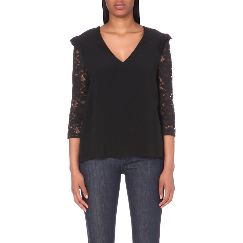 Believe Lace Top, Women's, Noir - neckline: low v-neck; pattern: plain; predominant colour: black; occasions: evening; length: standard; style: top; fibres: viscose/rayon - 100%; fit: body skimming; sleeve length: 3/4 length; sleeve style: standard; texture group: crepes; pattern type: fabric; pattern size: standard; season: a/w 2016; wardrobe: event; embellishment: contrast fabric; embellishment location: shoulder
