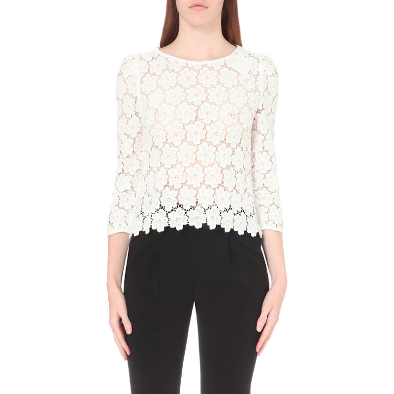 Baba Lace Top, Women's, White - style: blouse; predominant colour: ivory/cream; occasions: evening, creative work; length: standard; fibres: silk - 100%; fit: straight cut; neckline: crew; sleeve length: 3/4 length; sleeve style: standard; texture group: lace; pattern type: fabric; pattern: patterned/print; season: a/w 2016; wardrobe: highlight