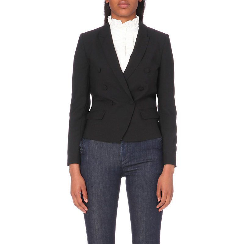 Variety Stretch Crepe Jacket, Women's, Noir - pattern: plain; style: single breasted blazer; collar: standard lapel/rever collar; predominant colour: black; occasions: work; length: standard; fit: tailored/fitted; fibres: polyester/polyamide - stretch; sleeve length: long sleeve; sleeve style: standard; texture group: crepes; collar break: medium; pattern type: fabric; wardrobe: investment; season: a/w 2016