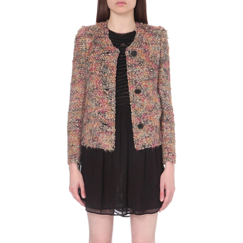 Helga Knitted Jacket, Women's, Multico Beige - collar: round collar/collarless; style: boxy; pattern: herringbone/tweed; predominant colour: blush; secondary colour: navy; occasions: casual, creative work; length: standard; fit: straight cut (boxy); fibres: wool - mix; sleeve length: long sleeve; sleeve style: standard; collar break: low/open; pattern type: fabric; pattern size: standard; texture group: tweed - light/midweight; multicoloured: multicoloured; wardrobe: basic; season: a/w 2016