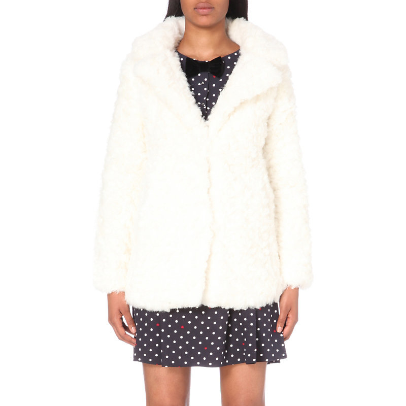 Glaze Faux Fur Coat, Women's, White - pattern: plain; length: standard; fit: slim fit; collar: standard lapel/rever collar; predominant colour: white; occasions: casual; fibres: acrylic - mix; style: fur coat; sleeve length: long sleeve; sleeve style: standard; texture group: fur; collar break: medium; pattern type: fabric; season: a/w 2016; wardrobe: highlight
