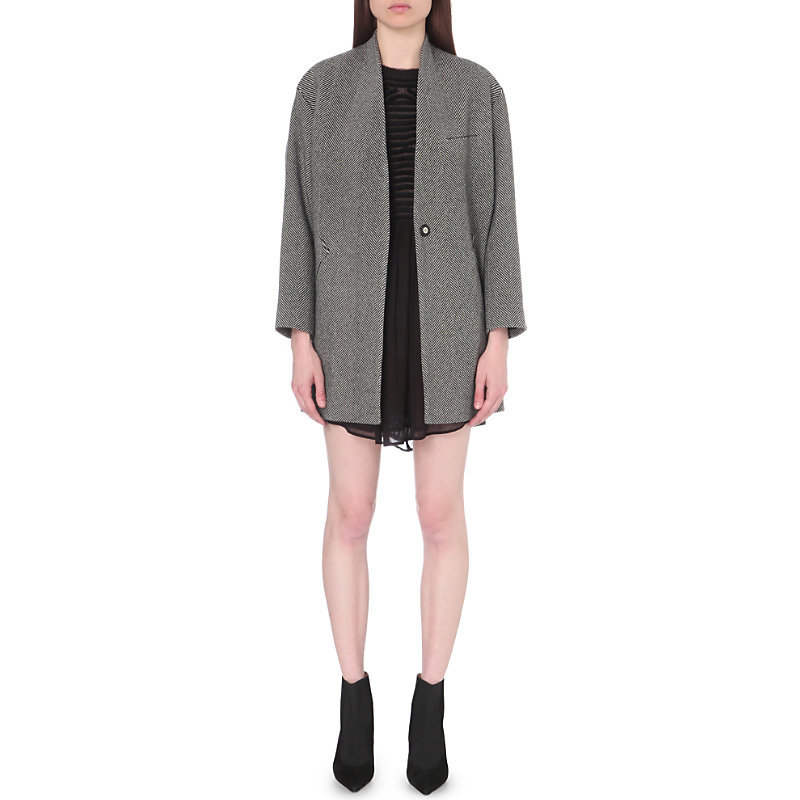 Asta Herringbone Wool Blend Coat, Women's, Black Ecru - collar: round collar/collarless; fit: slim fit; pattern: herringbone/tweed; length: mid thigh; predominant colour: mid grey; occasions: casual; style: cocoon; fibres: wool - mix; sleeve length: long sleeve; sleeve style: standard; collar break: medium; pattern type: fabric; texture group: woven bulky/heavy; season: a/w 2016