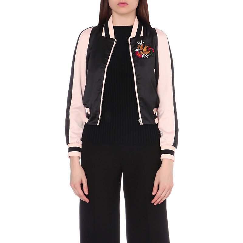 Basla Satin Bomber Jacket, Women's, Black - collar: round collar/collarless; fit: loose; style: bomber; secondary colour: blush; predominant colour: black; occasions: casual; length: standard; fibres: polyester/polyamide - stretch; sleeve length: long sleeve; sleeve style: standard; texture group: structured shiny - satin/tafetta/silk etc.; collar break: high; pattern type: fabric; pattern: colourblock; multicoloured: multicoloured; season: a/w 2016; wardrobe: highlight