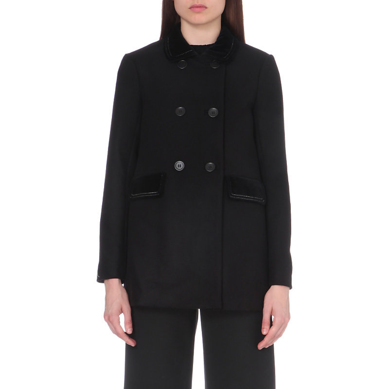 Galakie Wool Blend Coat, Women's, Black - pattern: plain; length: below the bottom; style: double breasted; predominant colour: black; occasions: casual, creative work; fit: straight cut (boxy); fibres: wool - mix; collar: shirt collar/peter pan/zip with opening; sleeve length: long sleeve; sleeve style: standard; collar break: high; pattern type: fabric; texture group: woven bulky/heavy; wardrobe: basic; season: a/w 2016