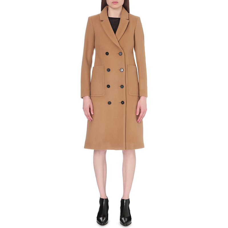 Galerie Wool Blend Coat, Women's, Camel - pattern: plain; style: double breasted; length: on the knee; fit: slim fit; collar: standard lapel/rever collar; predominant colour: black; occasions: casual; fibres: wool - mix; sleeve length: long sleeve; sleeve style: standard; collar break: medium; pattern type: fabric; texture group: woven bulky/heavy; season: a/w 2016