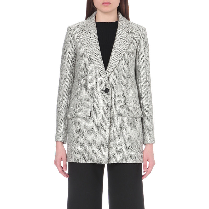 Lorie Wool Blend Coat, Women's, Jacquard - pattern: plain; length: below the bottom; style: single breasted; collar: standard lapel/rever collar; predominant colour: light grey; occasions: casual; fit: tailored/fitted; fibres: wool - mix; sleeve length: long sleeve; sleeve style: standard; collar break: medium; pattern type: fabric; texture group: woven bulky/heavy; wardrobe: basic; season: a/w 2016