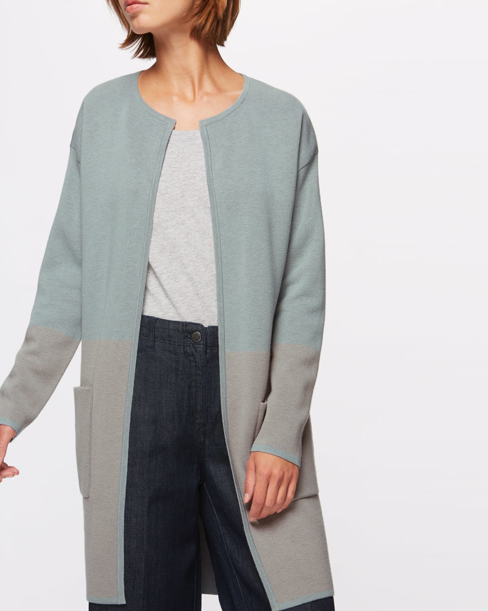 Two Colour Coatigan - pattern: plain; neckline: collarless open; style: open front; predominant colour: mid grey; occasions: casual, creative work; fibres: cotton - mix; fit: loose; length: mid thigh; sleeve length: long sleeve; sleeve style: standard; texture group: knits/crochet; pattern type: knitted - fine stitch; wardrobe: basic; season: a/w 2016