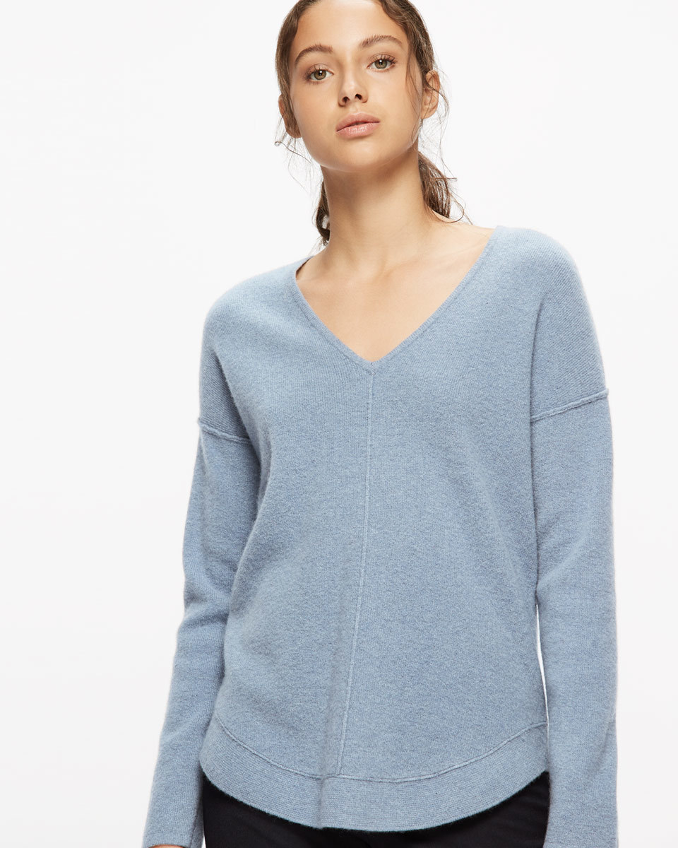 Wool Cashmere Curved Hem Jumper - neckline: v-neck; pattern: plain; style: standard; predominant colour: pale blue; occasions: casual; length: standard; fit: standard fit; fibres: cashmere - 100%; sleeve length: long sleeve; sleeve style: standard; texture group: knits/crochet; pattern type: fabric; season: a/w 2016; wardrobe: highlight