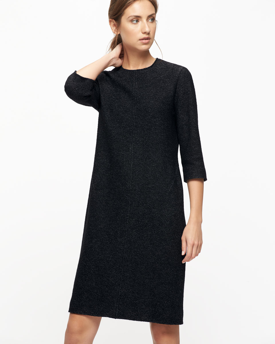 Speckled Wool Knitted Dress - style: shift; pattern: plain; predominant colour: black; occasions: evening; length: just above the knee; fit: body skimming; fibres: wool - 100%; neckline: crew; sleeve length: 3/4 length; sleeve style: standard; texture group: knits/crochet; pattern type: fabric; season: a/w 2016; wardrobe: event