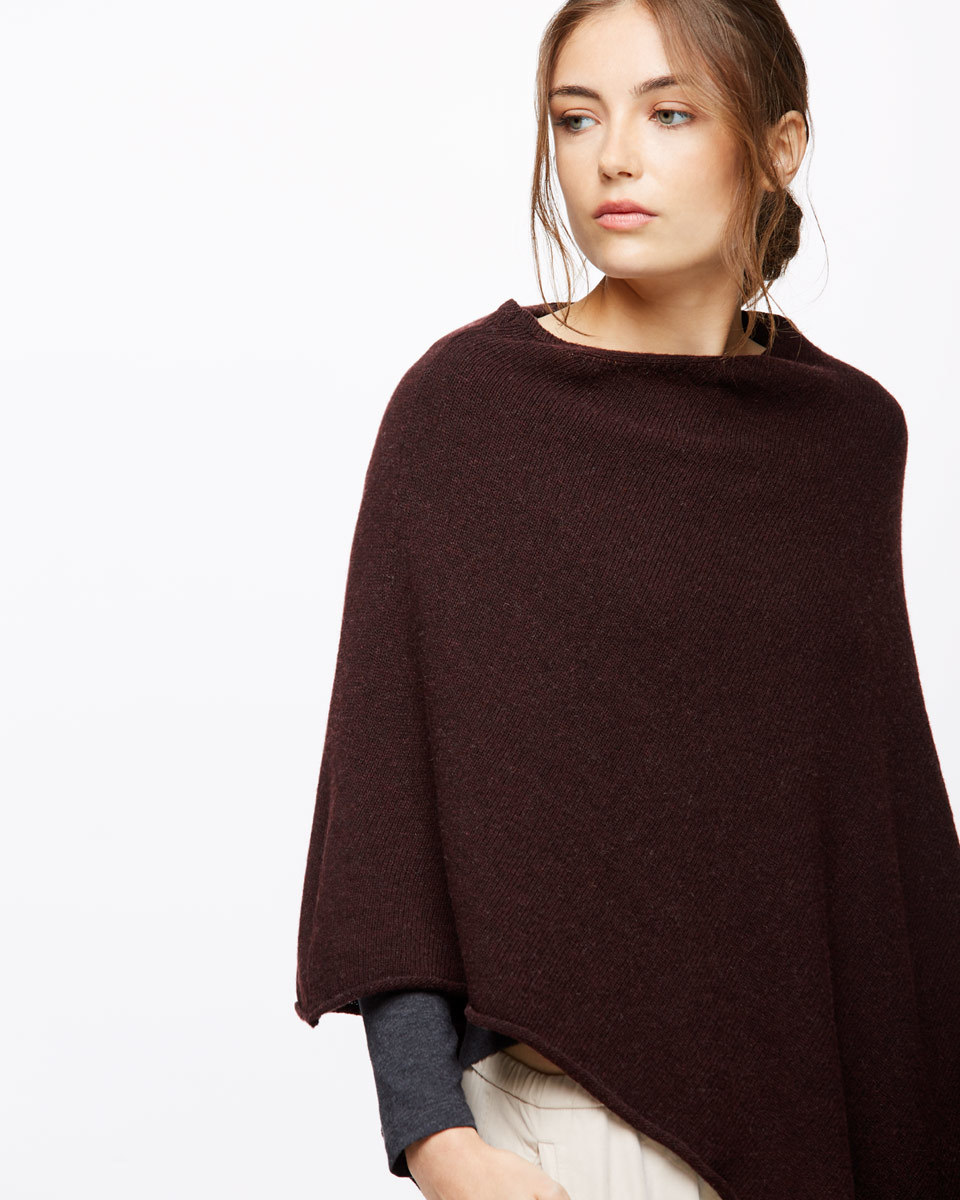 Rolled Edge Poncho - neckline: slash/boat neckline; pattern: plain; style: poncho; predominant colour: burgundy; occasions: casual; length: standard; fibres: wool - mix; fit: loose; sleeve length: 3/4 length; texture group: knits/crochet; pattern type: knitted - fine stitch; sleeve style: cape/poncho sleeve; season: a/w 2016; wardrobe: highlight