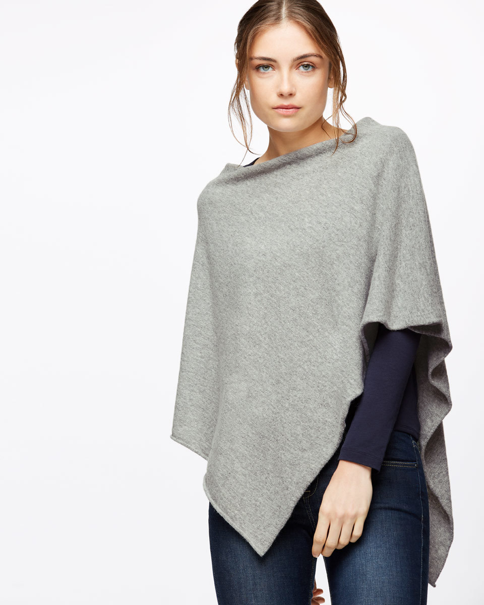 Rolled Edge Poncho - neckline: slash/boat neckline; style: poncho; predominant colour: mid grey; occasions: casual, creative work; length: standard; fibres: wool - mix; fit: loose; sleeve length: 3/4 length; texture group: knits/crochet; pattern type: knitted - fine stitch; pattern size: light/subtle; sleeve style: cape/poncho sleeve; pattern: marl; season: a/w 2016