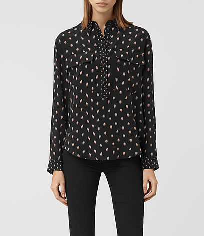 Maria Flic Silk Shirt - neckline: shirt collar/peter pan/zip with opening; style: shirt; secondary colour: white; predominant colour: black; occasions: casual, creative work; length: standard; fibres: silk - 100%; fit: body skimming; sleeve length: long sleeve; sleeve style: standard; texture group: silky - light; pattern type: fabric; pattern: patterned/print; multicoloured: multicoloured; season: a/w 2016