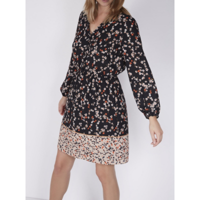 Floral Border Print Dress Black - style: shift; neckline: v-neck; waist detail: belted waist/tie at waist/drawstring; secondary colour: blush; predominant colour: black; occasions: casual; length: just above the knee; fit: body skimming; fibres: polyester/polyamide - 100%; sleeve length: long sleeve; sleeve style: standard; pattern type: fabric; pattern: florals; texture group: woven light midweight; season: a/w 2016; wardrobe: highlight
