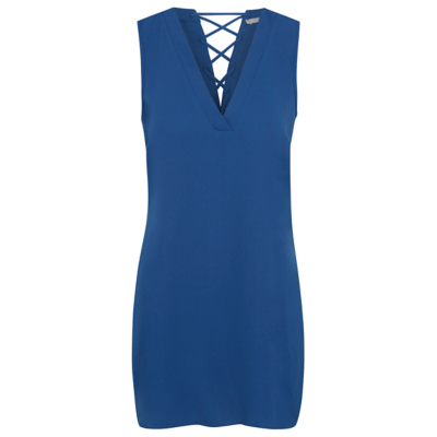 Lace Up Back Tunic Top Blue - neckline: low v-neck; pattern: plain; sleeve style: sleeveless; style: tunic; predominant colour: royal blue; occasions: casual, creative work; fibres: polyester/polyamide - 100%; fit: body skimming; length: mid thigh; sleeve length: sleeveless; pattern type: fabric; texture group: other - light to midweight; season: a/w 2016